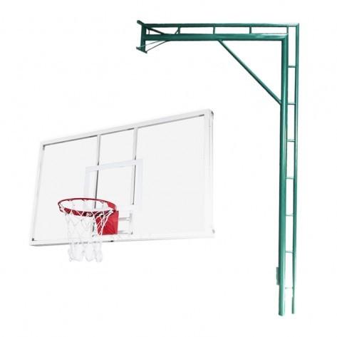 Estrutura para basquete modelo pé direito + Tabela em vidro temperado incolor