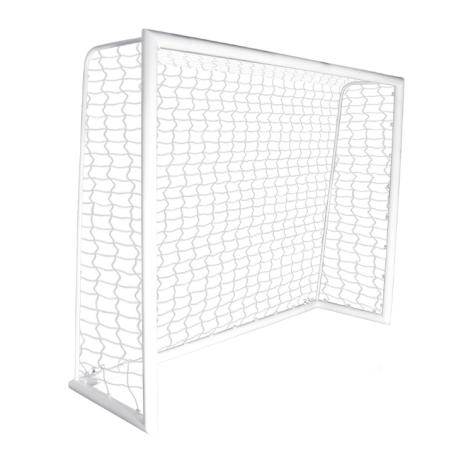 Trave de futsal modelo MONOBLOCO desmontável medindo 5,00m x 2,20m com Rede em fio 4mm 100% nylon com proteção UV