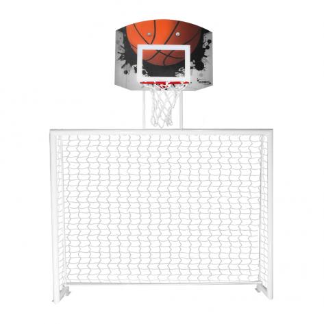 Traves de futsal conjugada com tabela de basquete em policarbonato modelo Fixo