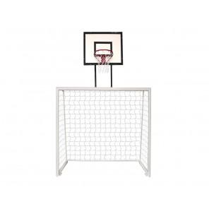 Trave de futsal 2,50m x 2,00m x 0,60m conjugada com tabela de basquete 0,80m x 1,10m