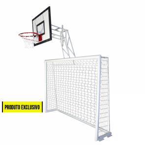 Trave de futsal 2,50m x 2,00m conjugada com tabela de basquete 0,80m x 1,10m modelo articulável