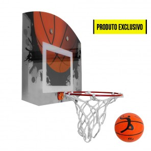 Mini tabela de basquete modelo Home com Aro, Rede e Mini Bola