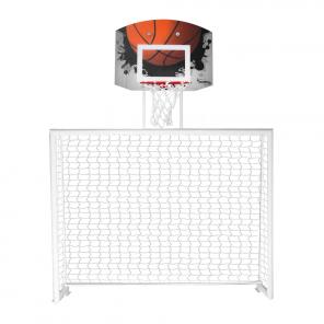 Trave de futsal conjugada com tabela de basquete em policarbonato modelo Fixo